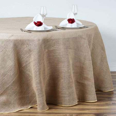Efavormart Fine Rustic Burlap Tablecloth Round Natural Tone for Kitchen Dining Catering Wedding Birthday Party Decorations Events - Rustic Table Cloth