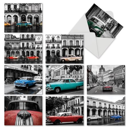 'M6550OCB HAVANA HOTRODS' 10 Assorted All Occasions Note Cards Featuring Cool Antique Automobiles Tooling Around a Cuban Cityscape with Envelopes by The Best Card Company