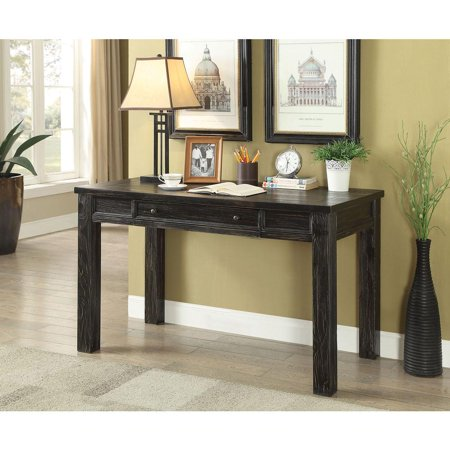 One Drawer Wooden Writing Desk With Block Legs Antique Black