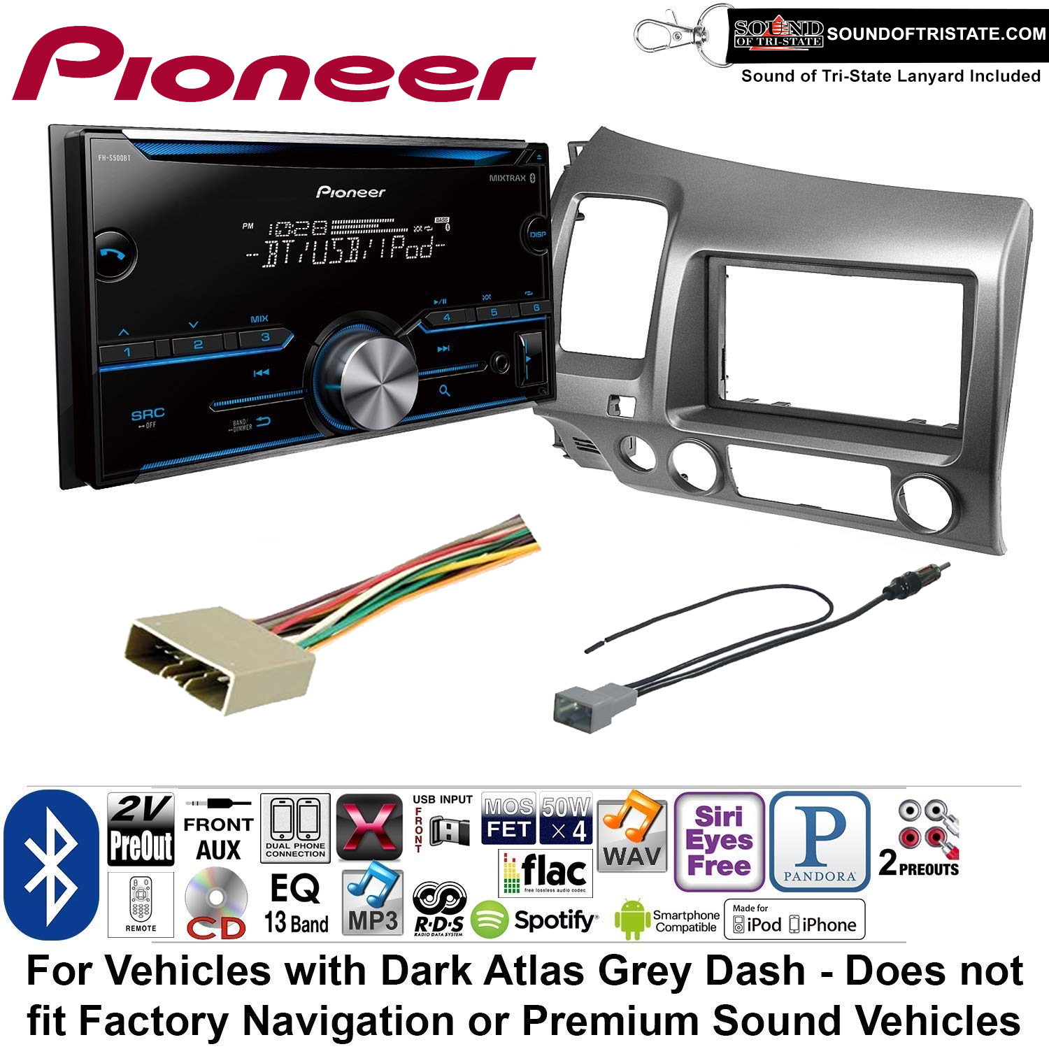 Pioneer FH-S500BT Double Din Radio Install Kit with CD Player Bluetooth Fits 2006-2011 Honda Civic (Dark Atlas Grey) + Sound of Tri-State Lanyard