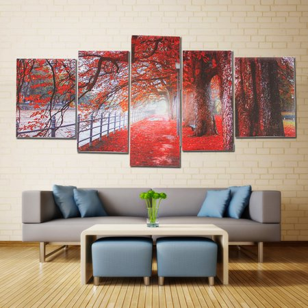 5Pcs Modern Abstract Oil Painting Canvas Red Maple Tree Leaves Picture Print Wall Art Frameless Home Decor Christmas Gift ()