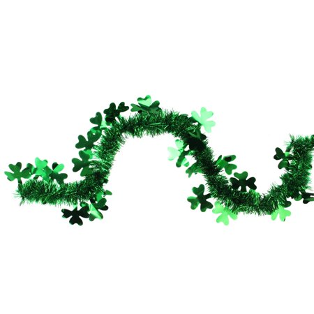 25' Green St. Patrick's Day Irish Shamrock Tinsel Garland - Unlit - image 1 de 1