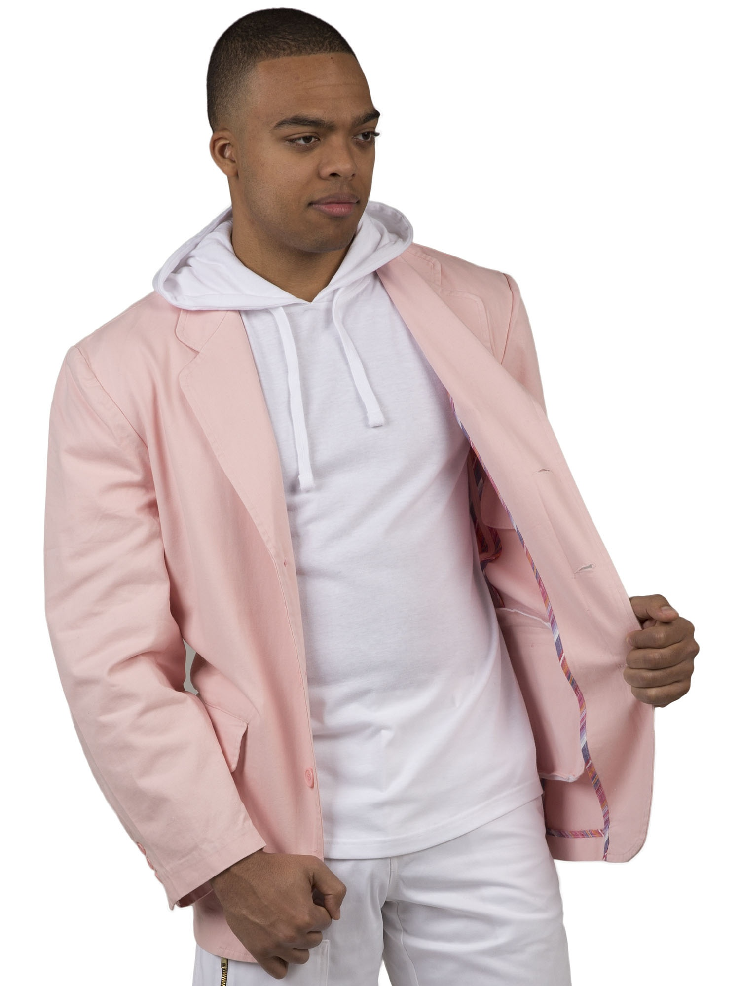Vibes Gold Label Mens Pink Twill Casual Blazer Jacket 3 Button Front Enzyme Wash