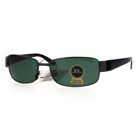 0bc4346c9f9 Tempered Glass Lens Rectangular Luxury Mens Designer Sunglasses Gunmetal  Black