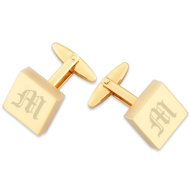 MBM Company Gold Overlay Engraved and Polished Square Cuff Links