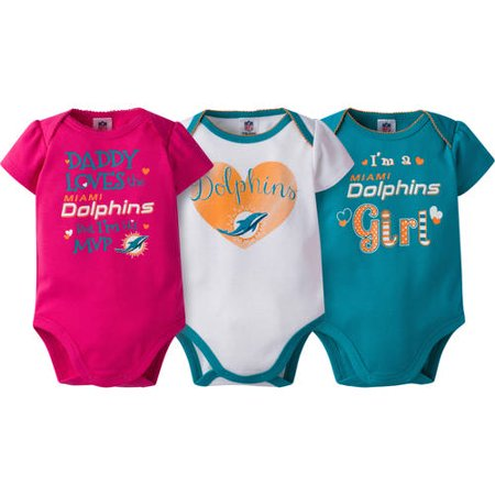 new styles aeac5 32dc3 NFL Miami Dolphins Baby Girls Short Sleeve Bodysuit Set, 3-Pack