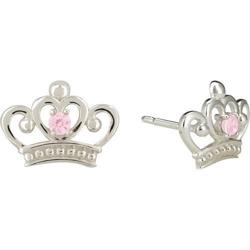 Disney Princess Pink Cubic Zirconia Sterling Silver Stud Earrings