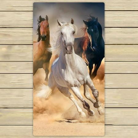 Wild Animals Bath (PHFZK Wild Animal Towel, Horse Herd Run in Desert Sand Storm Hand Towel Bath Bathroom Shower Towels Beach Towel 30x56 inches)