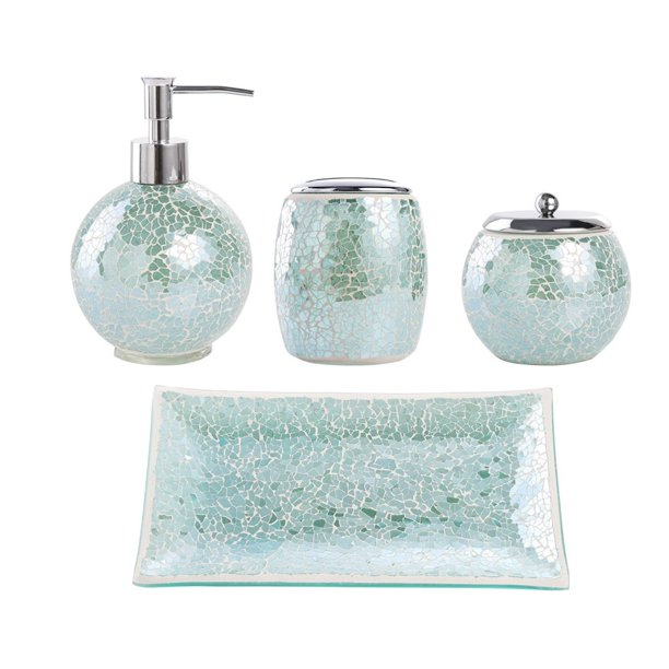 Bathroom Accessories Set 4 Piece Glass, Bathroom Soap Dispenser Set With Tray