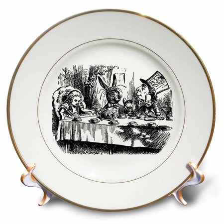 3dRose Mad Hatter tea party illustration by John Tenniel. Alice in Wonderland, Porcelain Plate, 8-inch](Mad Hatter Party Supplies)