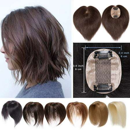 S-noilite Hair Toppers for Women Human Hair 100% Remy One Piece Clip in Toppers Extension Straight Real Mono Toppiece Hair Piece for Thinning Hair (Best Human Hair Clip In Extensions)