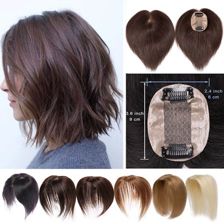 S-noilite Hair Toppers for Women Human Hair 100% Remy One Piece Clip in Toppers Extension Straight Real Mono Toppiece Hair Piece for Thinning Hair Black,10