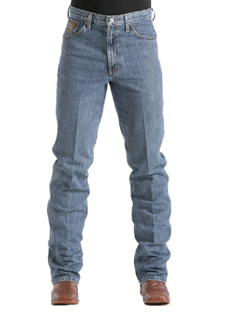 cinch men's bronze label slim fit jean,  medium stonewash, 42w x 40l