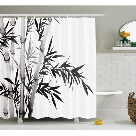 Bamboo Decor Shower Curtain Set, Bamboo Tree Illustration ...