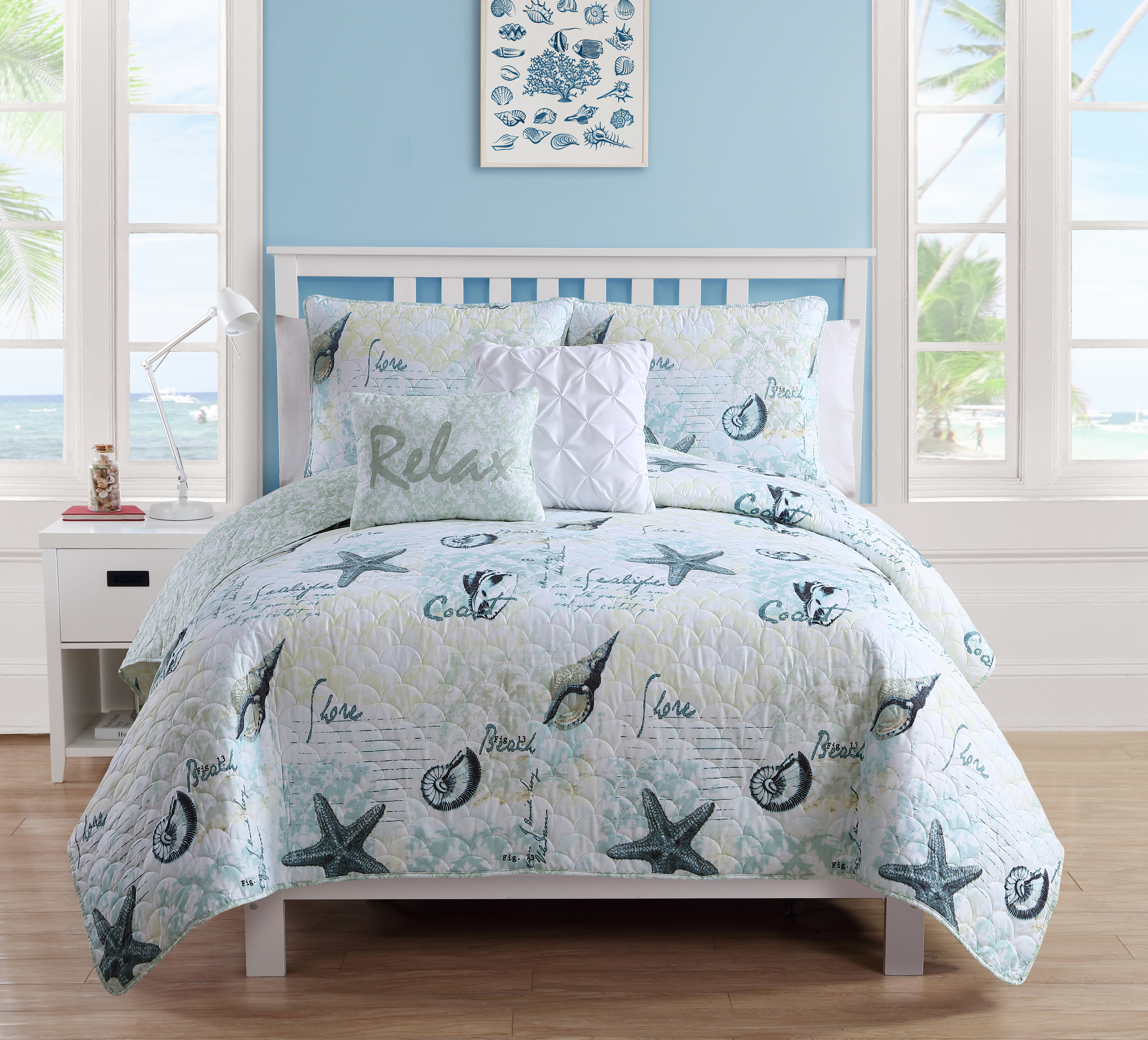 VCNY Home Blue Shore Life 5 Piece Bedding Quilt Set, Shams and Decorative Pillows Included
