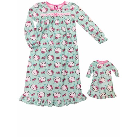 Hello Kitty Nightgown - Girl Hello Kitty Cat Nightgown & Blue Hearts & Pink Hearts Doll Night Gown Set