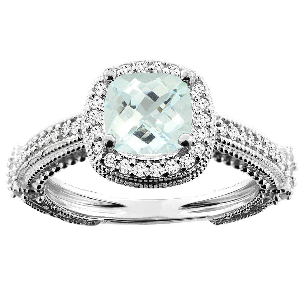 14K White Gold Natural Aquamarine Ring Cushion 7x7mm Diamond Accent, size 5 by Gabriella Gold