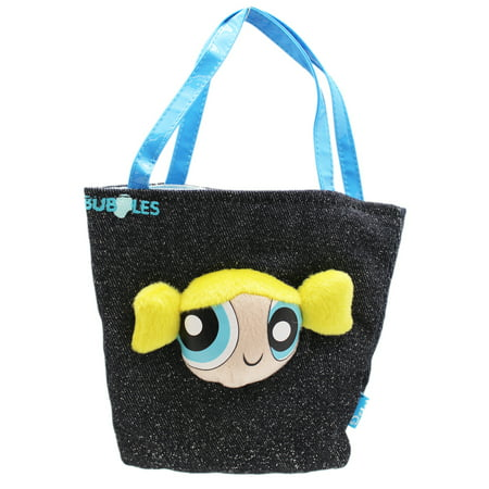 Powerpuff Girls Bubbles Children's Small Blue Handle Denim Play Handbag - Bubbles Powerpuff Girls