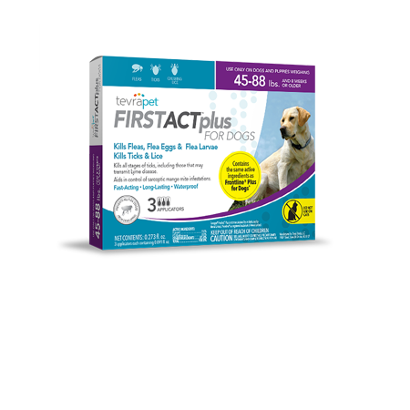 - TevraPet FirstAct Plus Flea and Tick Prevention for Large Dogs 45-88 lbs, 3 Monthly Treatments