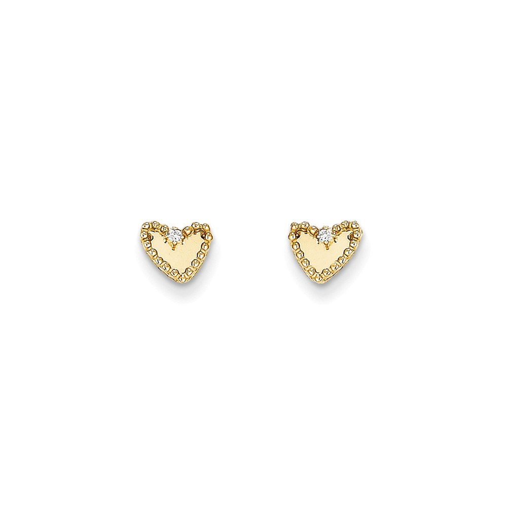 14k Yellow Gold Childs CZ Heart Post Earrings w/ Gift Box. (5.3MM)