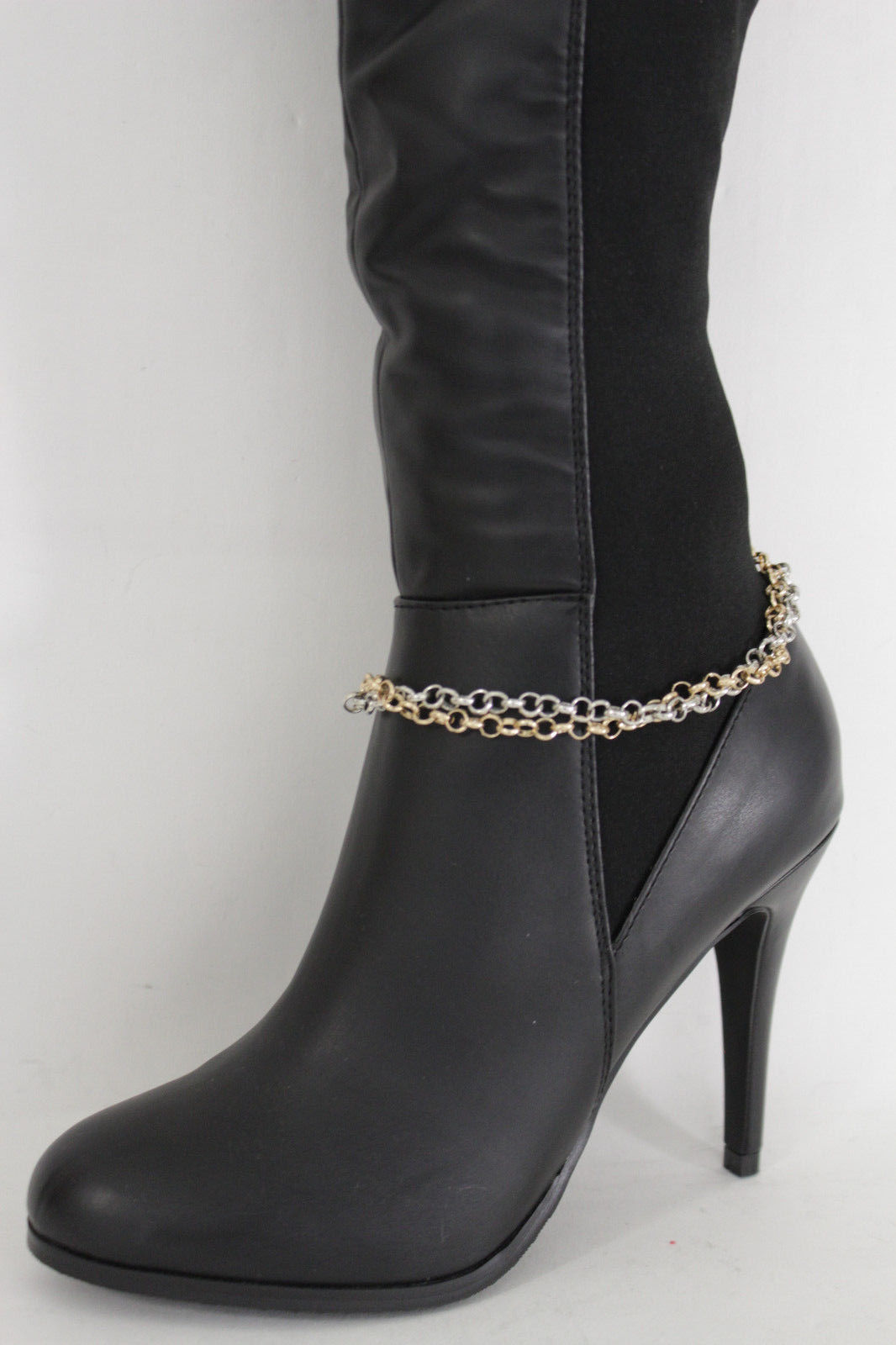 Women Gold Retro Metal Chain Boot Bracelet Anklet Shoe Charm Art Deco Jewelry