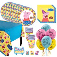 Peppa Pig Tableware Kit For 16 59 pc w/ Plates Napkins Cups Candles and Balloons