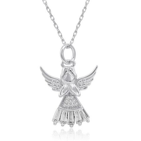 Amanda Rose Collection Sterling Silver White Skirt Angel Pendant   Necklace In Cubic Zirconia