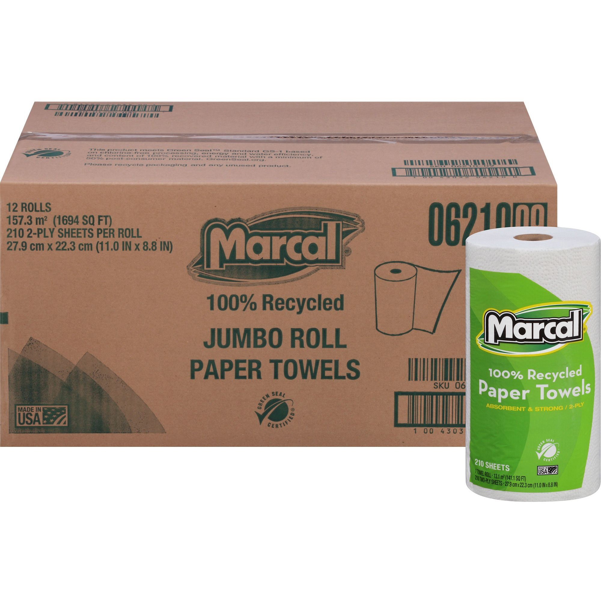 Marcal, MRC6210, 100% Recycled, Jumbo Roll Paper Towels, 12 / Carton, White