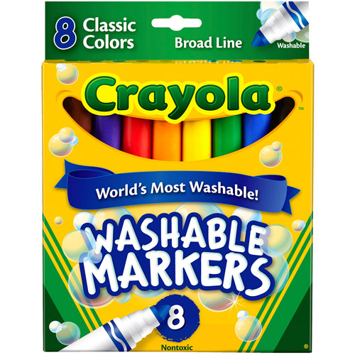 Crayola Washable Markers, Broad Point, Classic Colors, 8/Pack