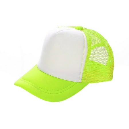Poly Mesh Cap - Opromo Blank Neon Foam Poly Mesh Trucker Hat Cap, Adjustable Snapback Hi Vis Cap-Neon Yellow/White-kids
