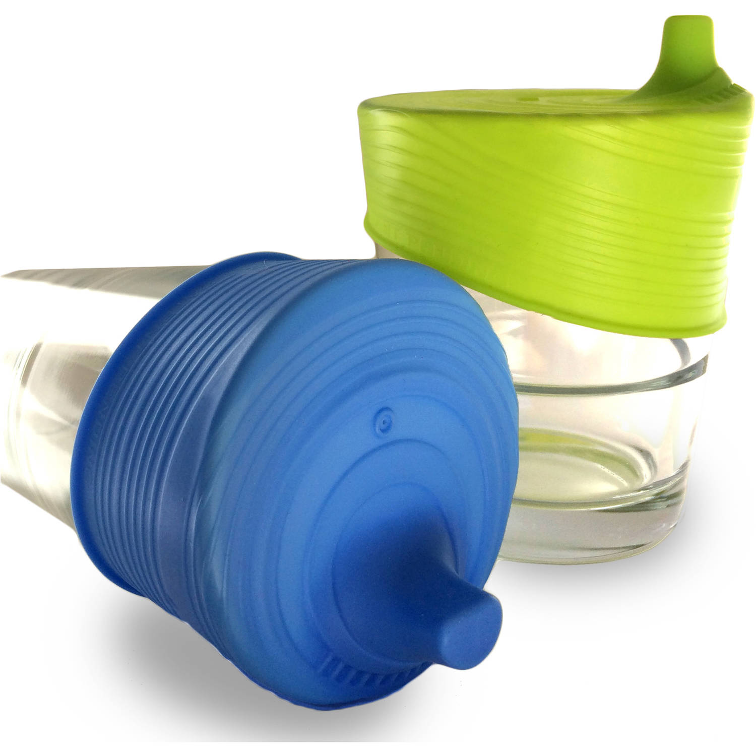 Siliskin Silicone Sippy Tops, Blue/Lime