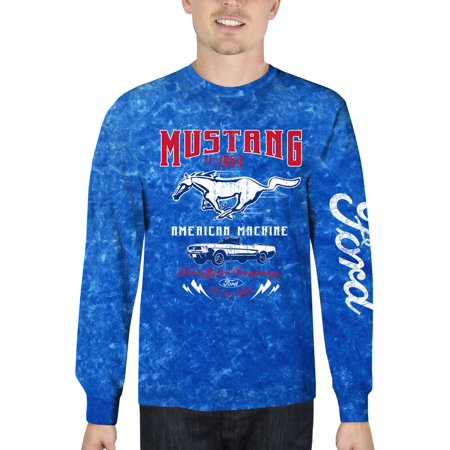 Ford Mustang Men's Long Sleeve Mineral Wash Graphic T-Shirt, up to Size 3XL ()