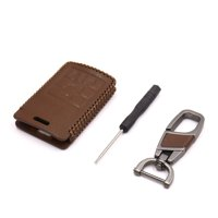 Brown Faux Leather Car 4 Button Remote Key Cover Holder Case for