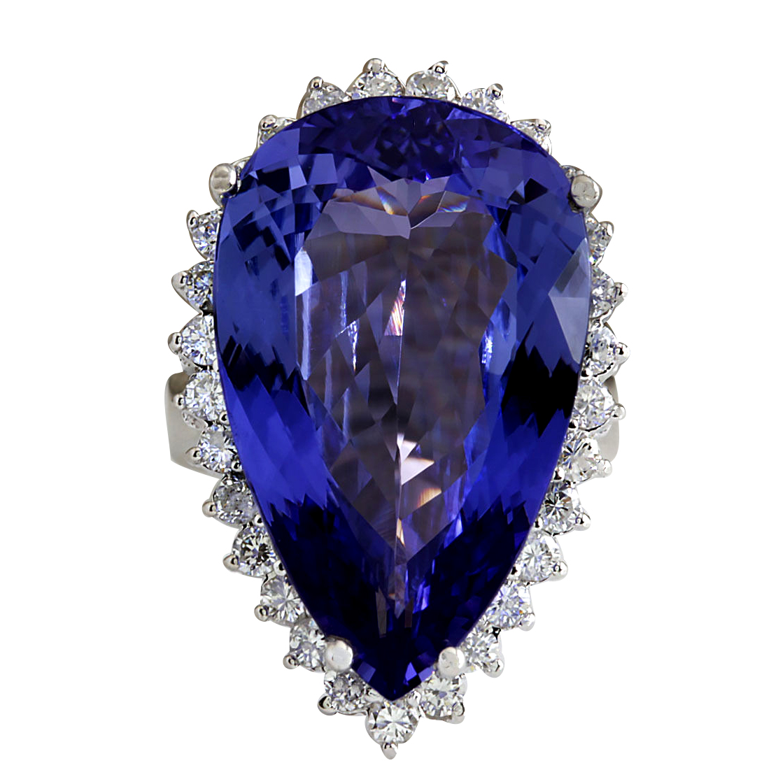 23.32CTW Natural Tanzanite Diamond Ring 14K Solid White Gold by