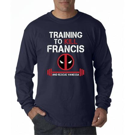 429 - Unisex Long-Sleeve T-Shirt Training To Kill Francis Deadpool Marvel Gym