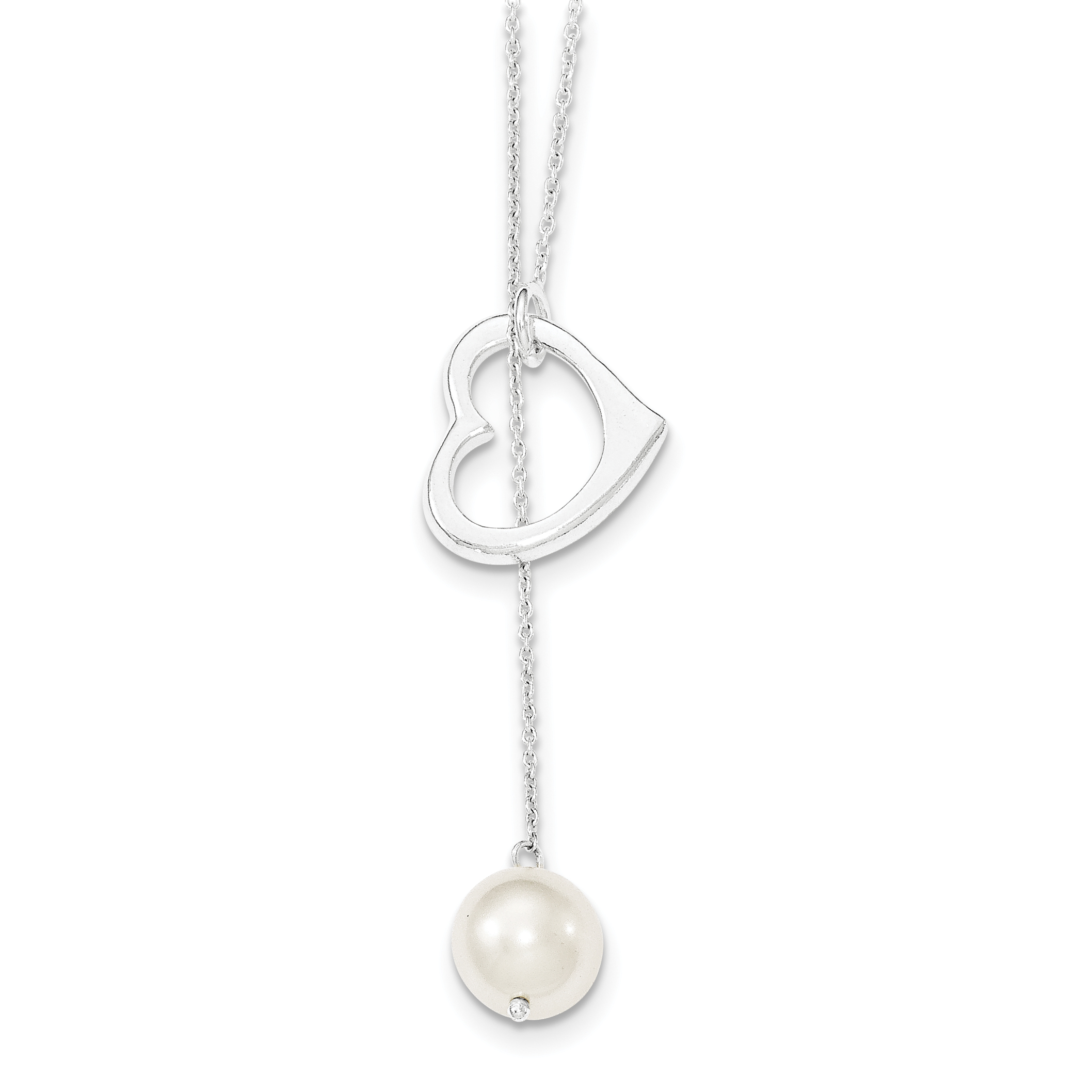 925 Sterling Silver and Simulated Pearl Polished Heart Necklace 18 Inch - image 3 de 3