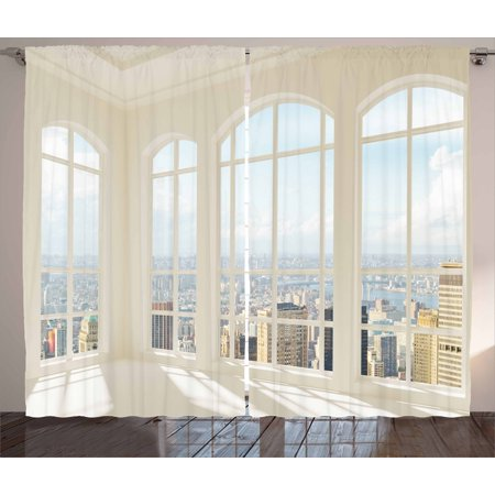 Modern Curtains 2 Panels Set, Big White Contemporary Apartment Flat Overlooking the City Urban View Print, Window Drapes for Living Room Bedroom, 108W X 96L Inches, White Baby Blue, by Ambesonne