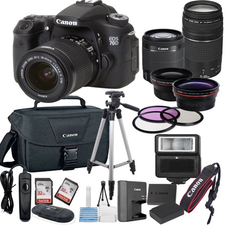 canon eos 70d digital slr camera w ef s 18 55mm 75. Black Bedroom Furniture Sets. Home Design Ideas