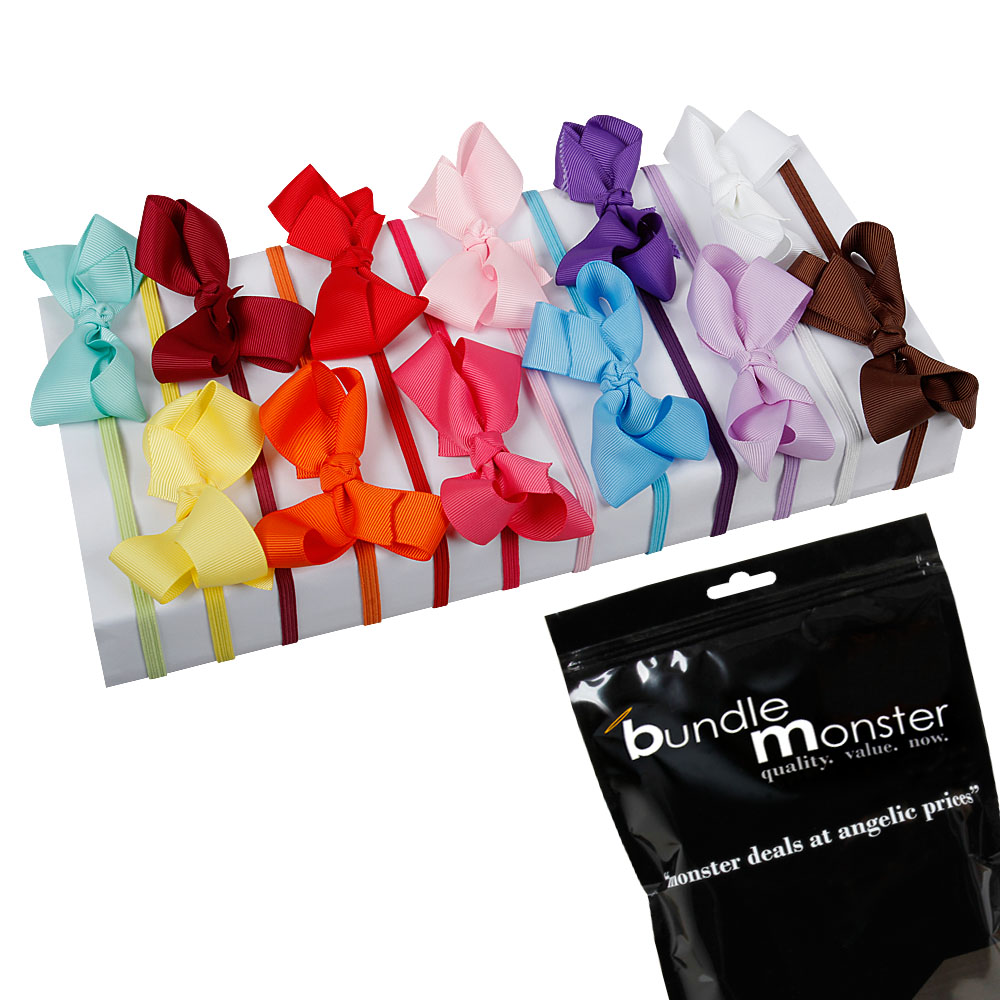 Bundle Monster 12pc Satin Ribbon Bow Elastic Girls Hair Headband Multicolor Set