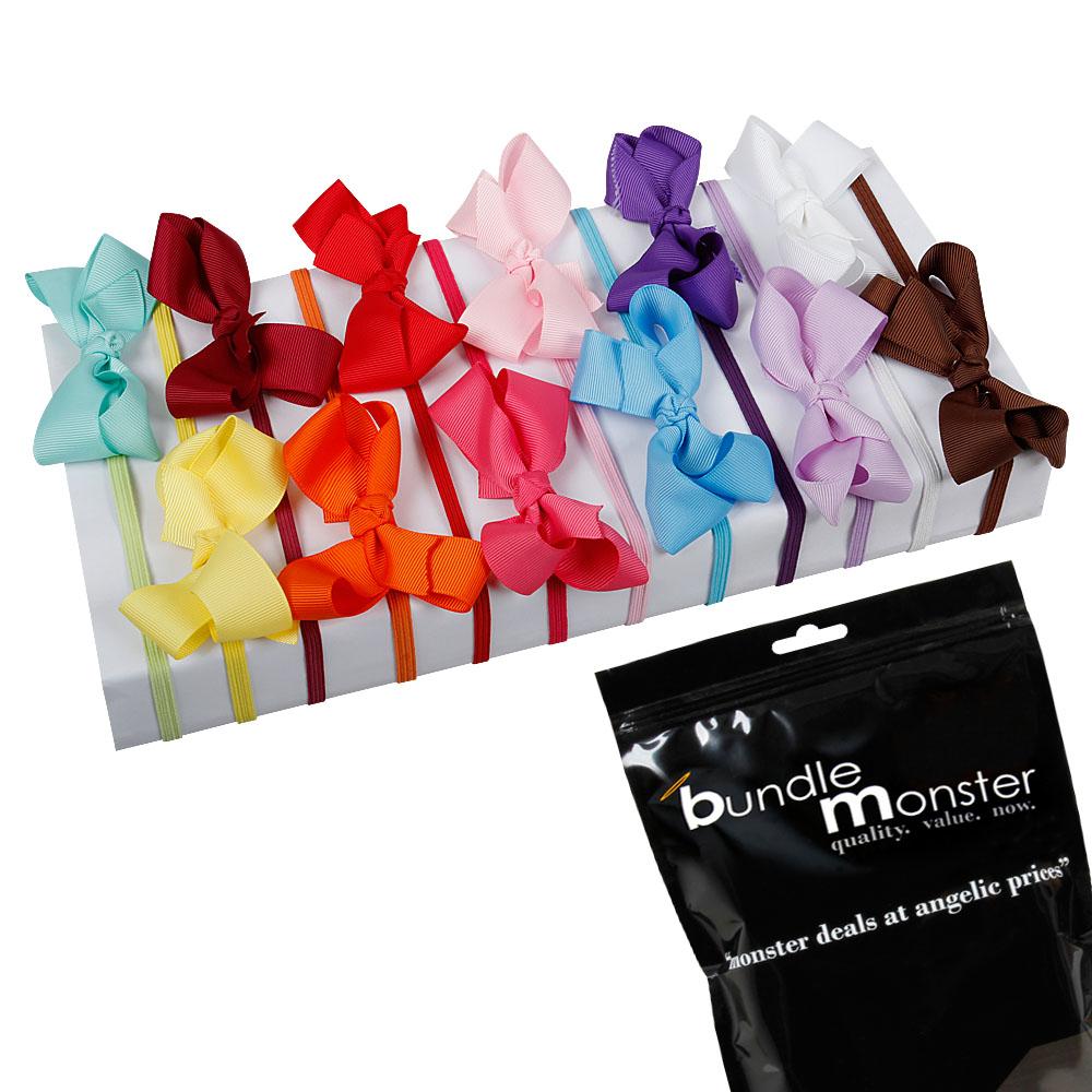 Bundle Monster 12pc Satin Ribbon Bow Elastic Girls Hair Headband Multicolor Set