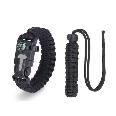 AC Parts ?2 Pack -1Survival Bracelet + 1Camera Rope Gear Paracord Bracelet with Emergency Knife, Whistle, Flint Fire Starter,Compass & Sawtooth;They Will Help You to Camp/Hike/huntmore Safely.