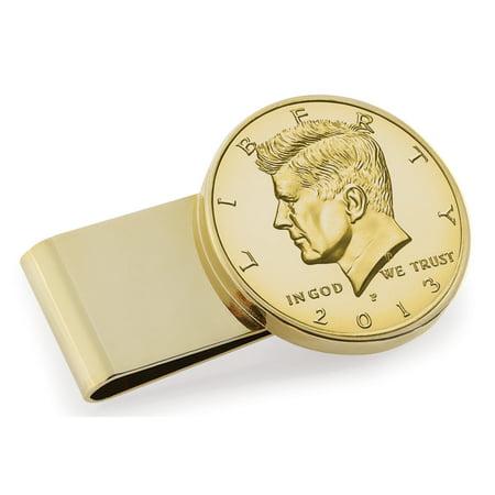 Smithsonian Institution Gold-Layered JFK Half Dollar Stainless Steel Goldtone Coin Money Clip Dollar Coin Money Clip