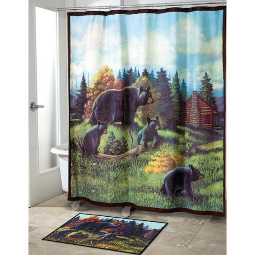 Avanti Black Bear Lodge Shower Curtain