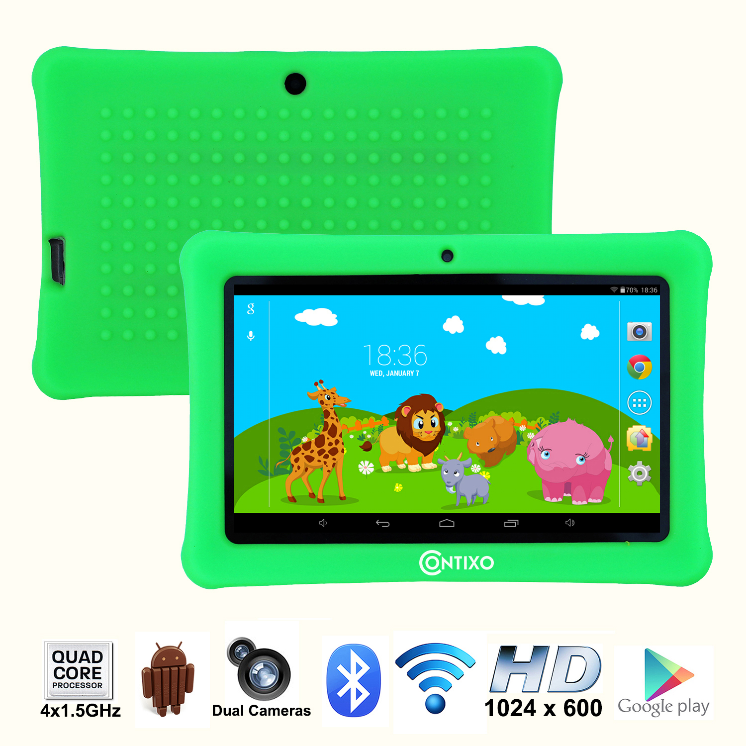 "Contixo 7"" HD Display Kids Tablet 8GB, Bluetooth, Wi-Fi, 20+ Free Games, Kids Place Parental Control, Kid-Proof Case (Green)"