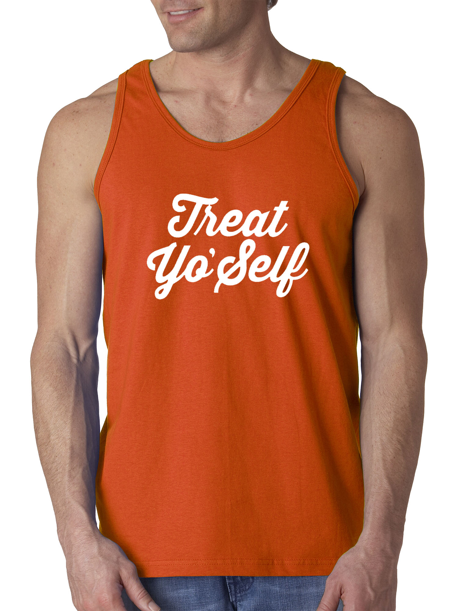 New Way 877 - Men's Tank-Top Treat Yo' Self Yourself Day Parks Recreation Large Charcoal