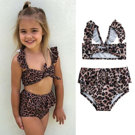 2Pcs Toddler Baby Girl Leopard Swimwear Bathing Suit Bikini Outfits Swimsuit Set