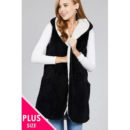 Women's Open Front w/ Hoodie Faux Fur Soft Fluffy Vest (Plus Size)](Venus Plus Size)