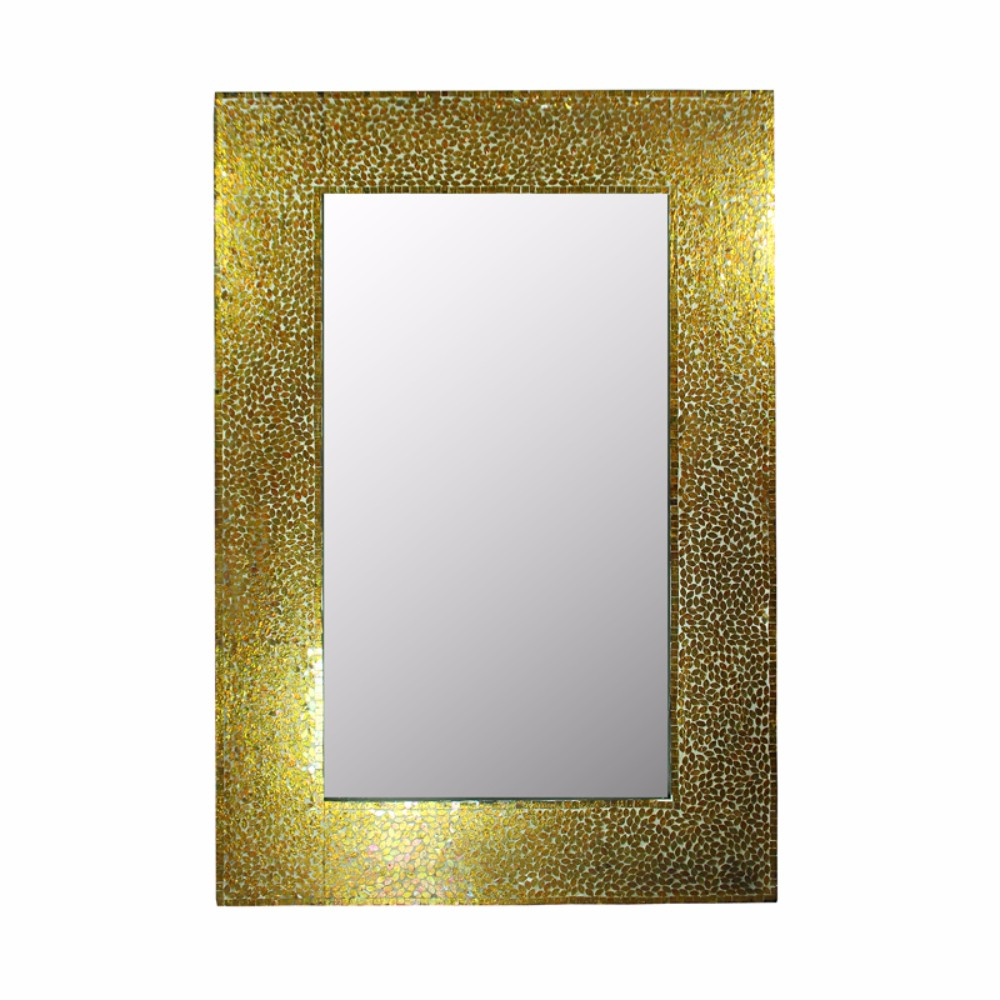 Mosaic Rectangular Mirror, Gold by Benzara