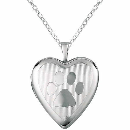 necklace cat paw lockets heart jewellery print on hand descending