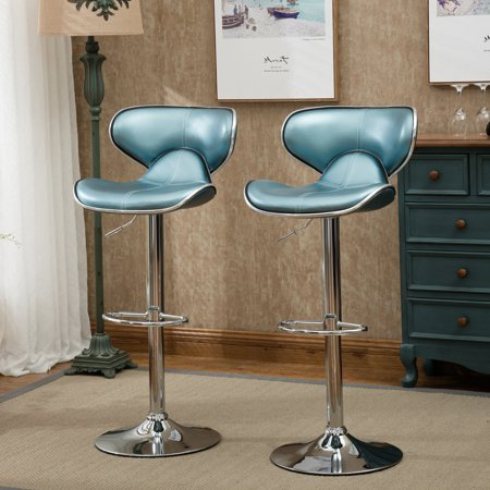 Awe Inspiring Roundhill Furniture Masaccio Cushioned Leatherette Upholstery Airlift Adjustable Swivel Barstool With Chrome Base Set Of 2 Blue Short Links Chair Design For Home Short Linksinfo